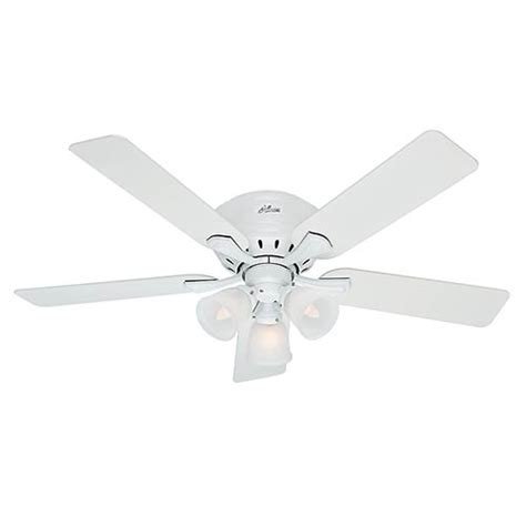 52 inch white ceiling fan hunter fans reinert snow white three light 52 inch hugger