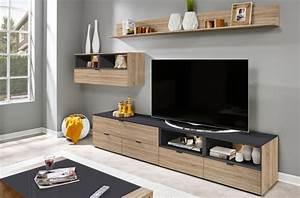 Meuble Tv Mur : mur tv design finition ch ne et anthracite yansen ~ Teatrodelosmanantiales.com Idées de Décoration