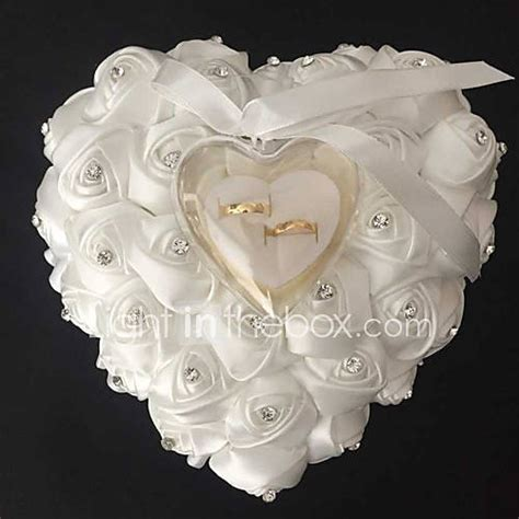 lace heart shape with rose and bow ring box pillow for wedding more colors 26 26 14cm 3325378