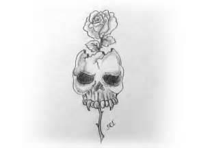 draw  skull  rose pencil drawing
