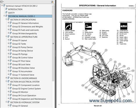 hitachi   excavator  service manuals