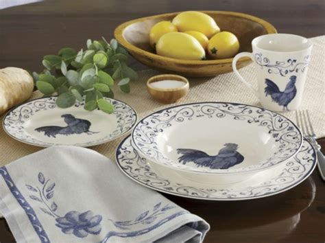 piece rooster toile dinnerware set