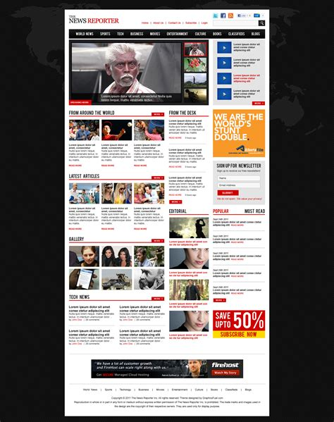 Magazine Themes Wp Magazine Theme Template Psd Graphicsfuel