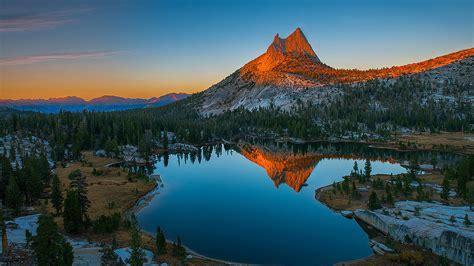 sunset mountain rocky mountain top lake reflecting