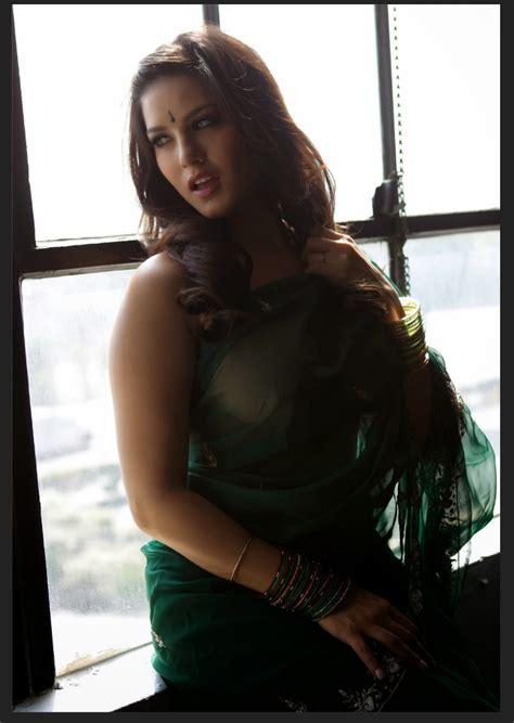 sunny leone  green saree  indian bollywood actress