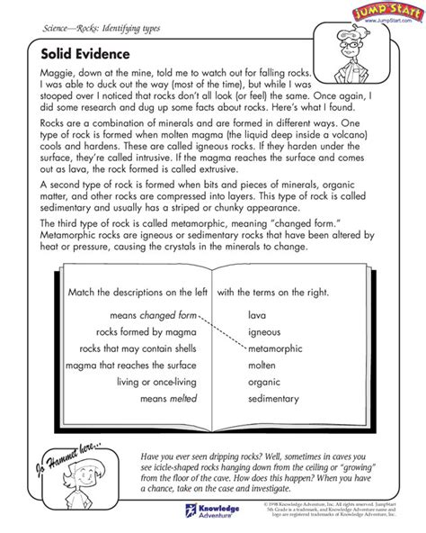 solid evidence free activity page for identifying types