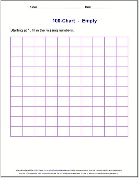 printable number charts   charts  counting