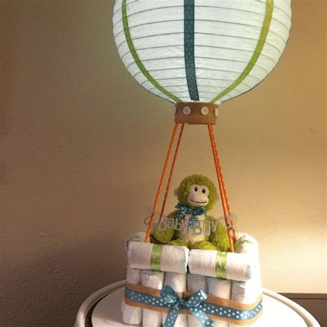 led light  lantern baby boy hot air balloon diaper cake