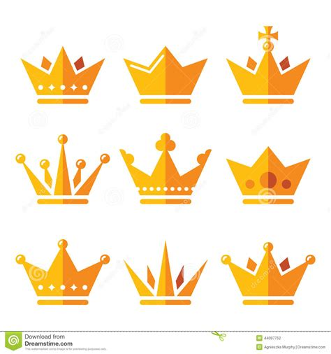 gold crown royal family icons set stock vector