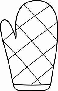 Oven Mitt Line Art - Free Clip Art