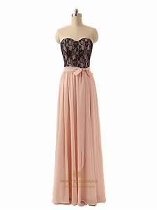 Strapless Black Lace Bodice Peach Chiffon A Line Prom ...