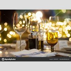 Blurry Background Of Wine Glass Set Up On The Table In