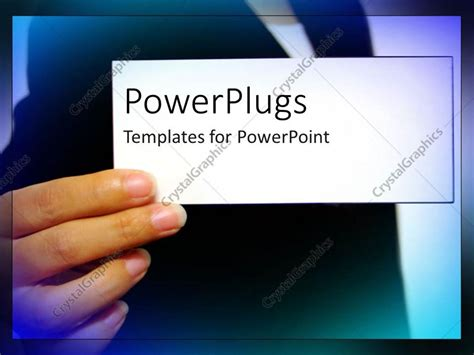 powerpoint business card powerpoint template an holding a plain white business card 5528