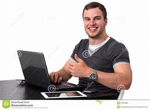 Young Happy Man Working On Pc Stock Image - Image of look ...