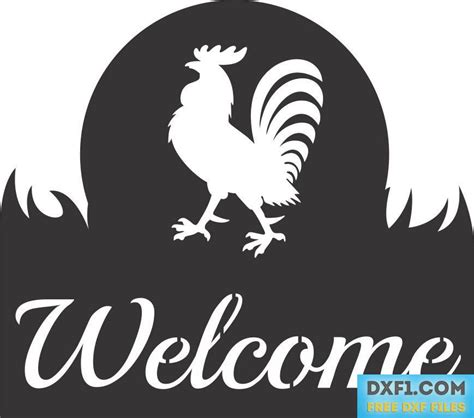 rooster  sign cut  template  dxf files