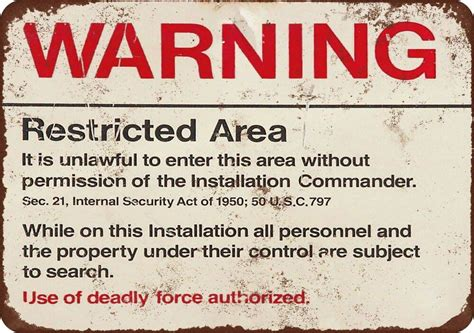 Warning Restricted Military Area 51 Vintage Look