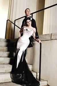 black and white mermaid skirt corset top wedding dress With corset top and skirt wedding dress