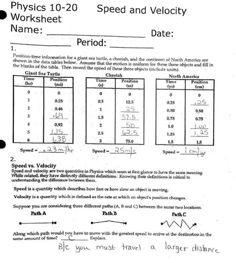 Velocity Worksheet Key  Kidz Activities