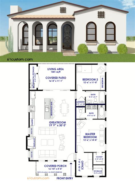 small spanish contemporary house plan    sqft single level home   bedrooms