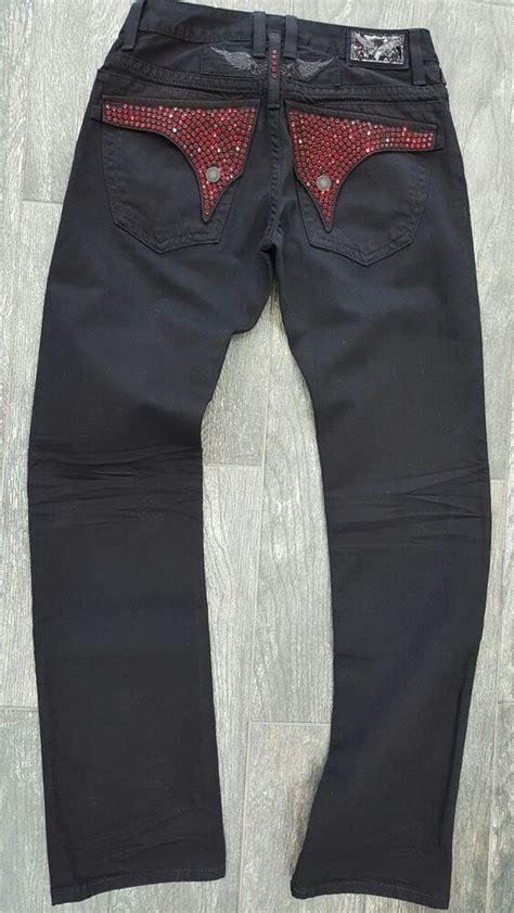 robins jean mens blackred embelished jeans