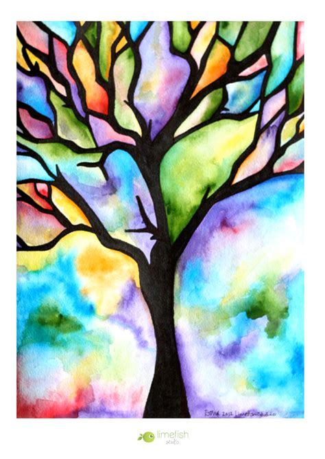 Tree Silhouette Watercolor Painting