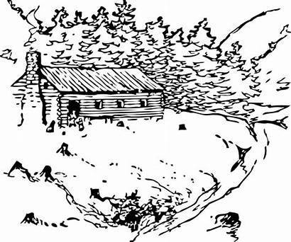 Cabin Log Clip Coloring Pages Woods Clipart