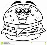 Coloring Cheeseburger Pages Burger Hamburger Drawing Pizza Chicken Template Fries French sketch template