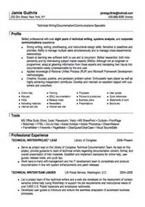 technical writer resumes exles technical writer resume sle resumes design