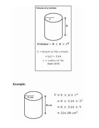 calculate  volume   cylinder  examples