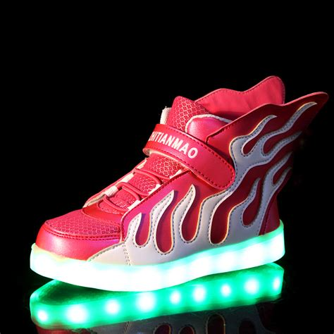 neon light up shoes luminous led neon high top sneakers light up children