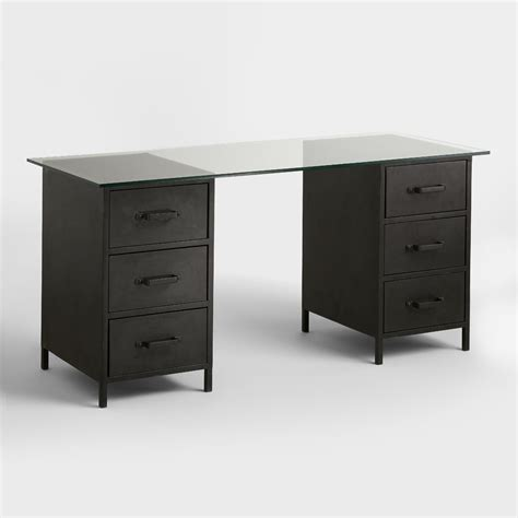 glass and metal computer desk with drawers glass top and metal drawer colton mix match desk world