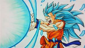 Drawing Goku Super Saiyan Blue 3 Kamehameha Tolgart