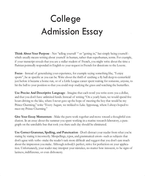 writing a good college application essay sample college essay 8 examples in word pdf