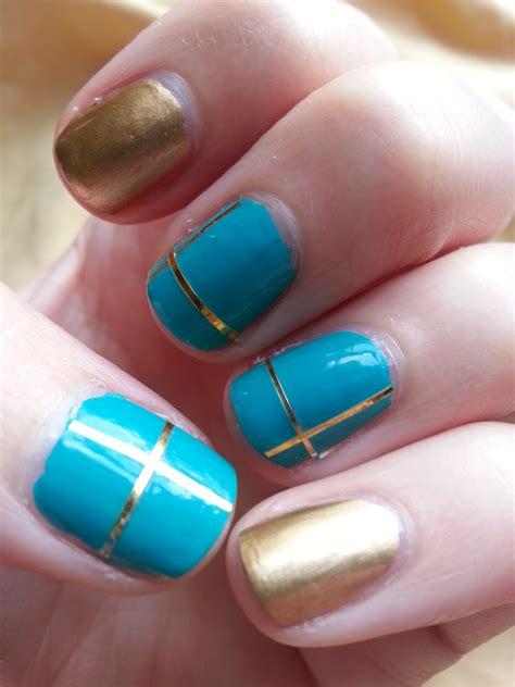 teal nail designs nail challenge september 4 gold teal nood mood
