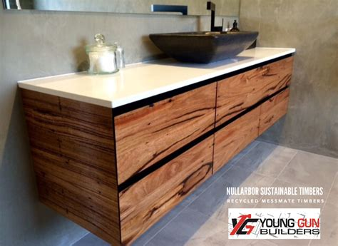 bathroom vanities in white recycled timber nullarbor sustainable timber benchtops