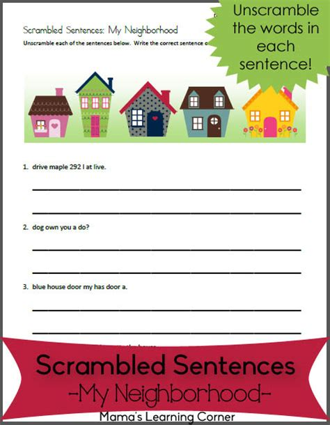 scrambled sentences my neighborhood for 1st 2nd graders