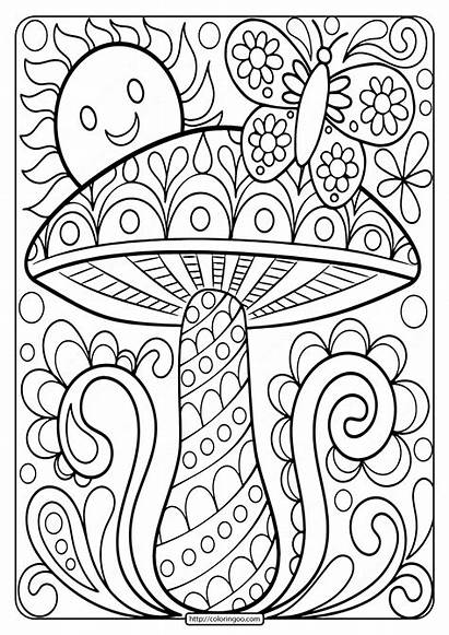 Coloring Mushroom Adult Printable Sheet Camper Adults