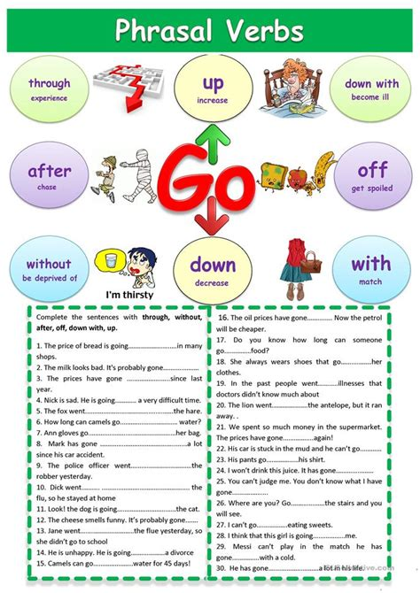 phrasal verbs quot go quot worksheet free esl printable worksheets made by teachers