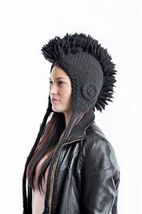 This Mohawk hat is hot pink lime green and black with a