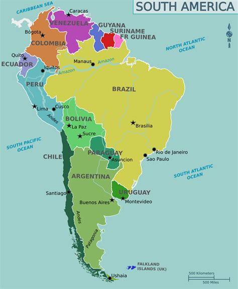 south america political map full size