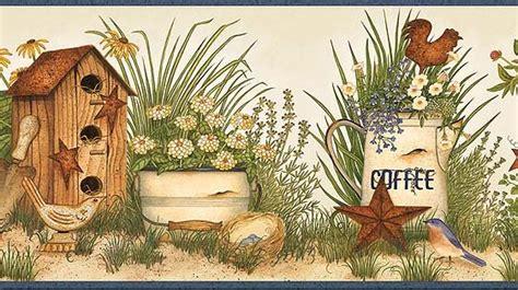 blue garden collectibles wallpaper border aaib