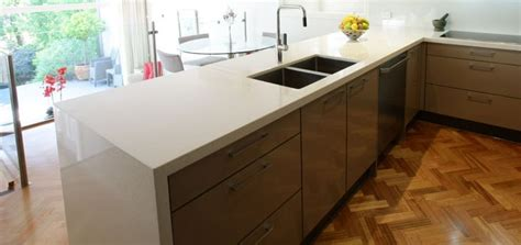 en sink benchtop snow caesarstone benchtop with waterfall edge and kitch