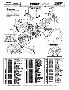Poulan Chain Saw Parts Diagram