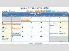 Print Friendly January 2019 US Calendar for printing