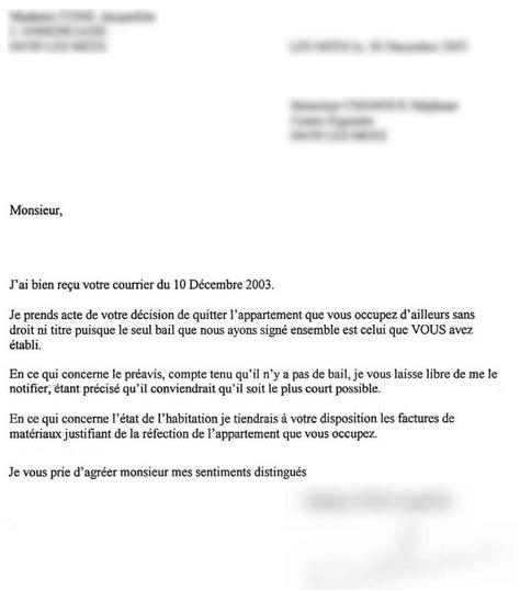 modele de lettre de préavis 1 mois modele preavis depart logement document
