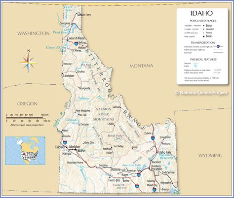 Reference Maps of Idaho, USA - Nations Online Project