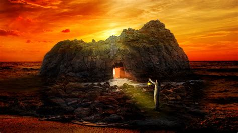 Download wallpaper 2560x1440 rock, cave, man, lonely, sea ...