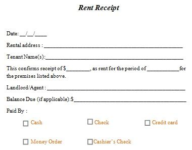 Free Printable Rent Receipt Template - Business Card ...
