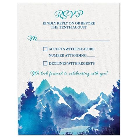 Turquoise Royal Blue Watercolor Mountain Wedding