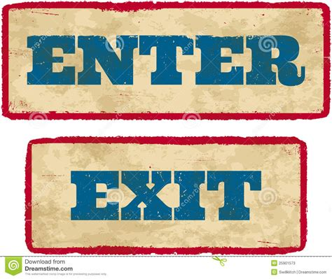 exit light enter aged enter and exit signs stock vector image of faded